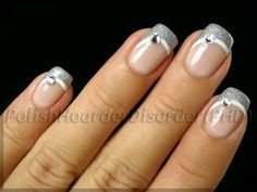 60 Fashionable French Nail Art Designs And Tutorials : Silver Swoop French Manicure with Rhinestones. Love Nails, Pretty Nails, Fun Nails, French Nails, French Manicures, French Manicure With Glitter, French Polish, Nagellack Design, Manicure E Pedicure