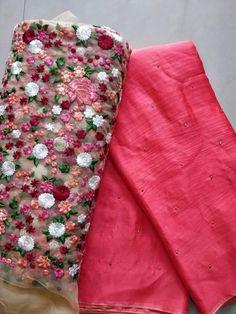 Fancy jute Georgette Sarees with blouse - Elegant Fashion Wear Wedding Saree Blouse Designs, Silk Saree Blouse Designs, Fancy Blouse Designs, Blouse Patterns, Sari Blouse, Simple Saree Designs, Simple Sarees, Jute Silk Saree, Raw Silk Saree