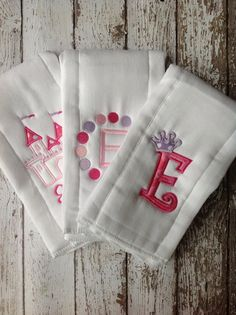 Set of 3 personalized burp cloths diaper cloths baby girl set of 3 personalized burp cloths diaper cloths baby girl monogrammed gift set princess theme negle Gallery