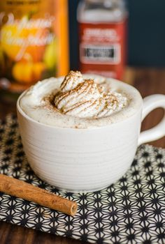 How to make a homemade pumpkin spice latte in your own kitchen, no espresso maker, milk frother, or special syrups required. These are EVEN BETTER THAN STARBUCKS and SO simple to make. Delicious cozy fall weekend breakfast idea. Cute idea for a breakfast date for two!