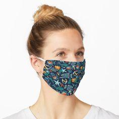 """Aqua Summer Tie Dye Batik Wax Tie Die Print"" Mask by paperandfrill Wale, Vintage T-shirts, Green Pattern, Mask Design, Flower Patterns, Doodle Patterns, Snug Fit, Chiffon Tops, Pony"