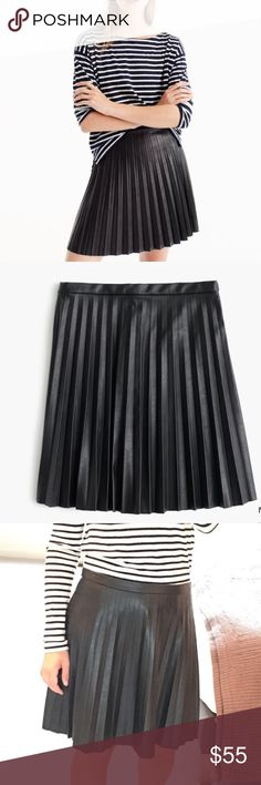 "J. Crew Pleated Faux-Leather Mini Skirt Sz 4 J. Crew Faux-Leather Pleated Mini Skirt Size 4  SIZE & FIT Sits at waist. 18"" long. Falls above knee.  PRODUCT DETAILS With accordion pleats and a flattering mini length, our faux-leather skirt looks and feels just like the real thing.  Poly. Back zip. Dry clean. Import. J. Crew Skirts"