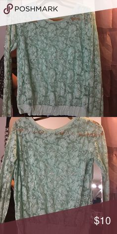 Mint green lace see through top Long sleeve lace top see through look cute with a white tank underneath Forever 21 Tops Blouses