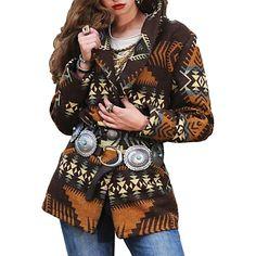 Ethnic Print, Vintage Coat, Western Wear, Western Chic, Western Boots, Wool Coat, Types Of Sleeves, Plus Size, Long Sleeve
