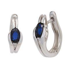 Dreambase Damen-Ohrschmuck Creole 2 blaue Saphire 8 Karat (333) Weißgold 2 Diamant 0.02 ct.