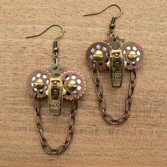 Steampunk Earrings - Zipper Earrings - Owl Earrings