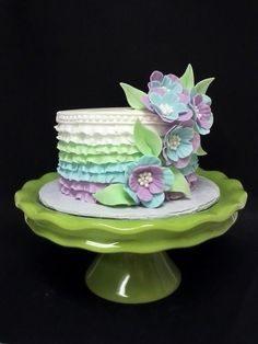 Ruffles & Flowers  Cake by Cheryl's Creative Cakery love the color shades