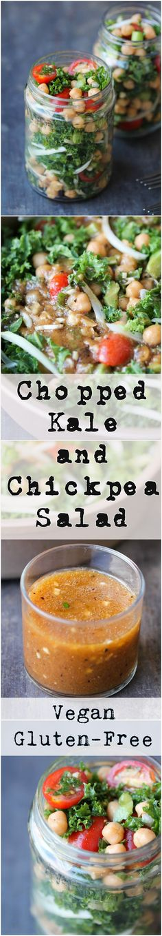 Chopped Kale and Chickpea Salad with Tamarind Vinaigrette is a sturdy, nutritious salad that packs well for lunch/picnic! It is naturally vegan, gluten-free, and allergy friendly as well. Healthy Salad Recipes, Vegetable Recipes, Real Food Recipes, Veggie Dishes, Lunch Recipes, Clean Eating Salads, Healthy Eating, Tamarind Recipes, Eating Clean