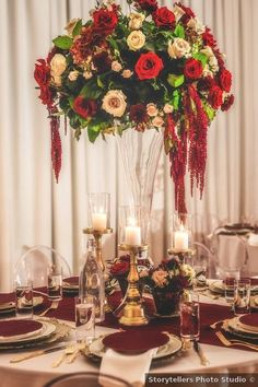 Wedding centerpiece ideas - red, roses, white, greenery, elegant, candles, table decor, gold {Storytellers Photo Studio}