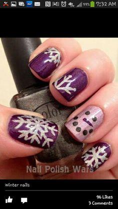 Snow flake nails - I think I'd remove the snowman