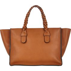 Valentino To Be Cool Medium Tote (3,660 CAD) ❤ liked on Polyvore featuring bags, handbags, tote bags, brown, pencil pouch, leather tote bags, leather handbags and brown leather tote bag