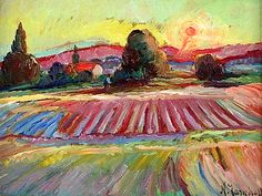Nikolai Aleksandrovich Tarkhov (1871-1930) - Sunrise Over Furrowed Fields