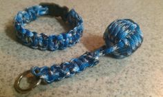 Digi blue paracord bracelet and monkey fist lanyard http://www.etsy.com/shop/TACKNOTS