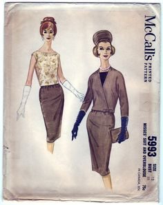 Vintage 1961 McCall's 5993 UNCUT Sewing Pattern Misses' Suit and Overblouse