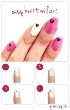 Nail DIY tutorial: easy heart nail art 38 Easy DIY Nail Art Ideas For Thanksgiving and Fall Every girl likes apply different nail art designs to their nails. Nail Art Designs, Heart Nail Designs, Simple Nail Designs, Nail Art Diy, Diy Nails, Manicure, How To Nail Art, Heart Nail Art, Diy Heart Nails