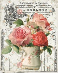 Gorgeous vintage porcelain vase with roses, french receipt and shabby background combined to give you a one of a kind print. You will receive 2, 8x10 JPEG images, one reversed. Instant Download.  IMAGE QUALITY All French Paper Moon downloadable graphic art items are high-resolution 300 dpi (dots per inch) for crisp, clear, colorful printing. It is recommended that printing be done using quality photo printing materials. As computer screen resolutions and printer settings vary, printed color…