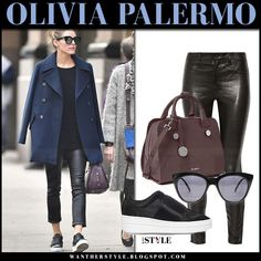 Olivia Palermo in navy coat, black leather pants and burgundy leather bag