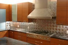 "4"" x 4"" Brushed Stainless Steel Metal Backsplash Tiles, Harlequin, Alternating Grain Orientation"