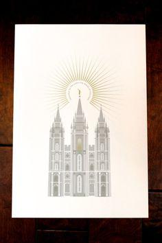 Salt Lake, Utah LDS temple 13x19 print on Etsy, $35.00