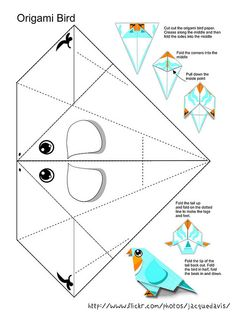 Origami Bird Paper ( color your own) Dragon Origami, Origami Butterfly, Cute Butterfly, Origami Leaves, Origami Flowers Tutorial, Origami Envelope, Origami Folding, Origami Patterns, Origami Paper Art
