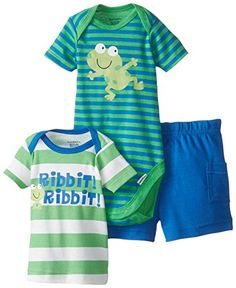 I am loving this 3 baby boys frog outfit fro Gerber. It will look great.  http://amzn.to/1Mi6VLL