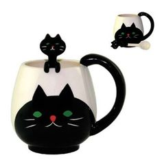 Ceramic Cat Coffee Mug and Spoon Set
