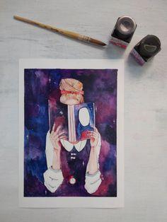 Galactic reading - Giclée, art, illustration, digital Printing, girl…