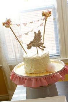 Baby Shower Cake  Bunting - with Stork Topper