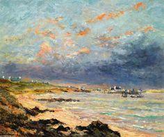 Soir d Orage à Kerhostin, huile sur toile de Maxime Maufra (1861-1918, France)