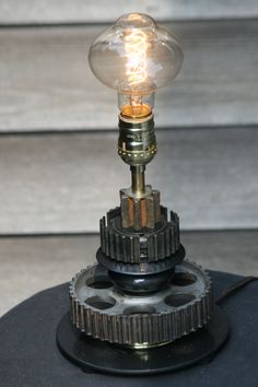 OOAK Steampunk Lamp with Vintage Machine Gears. Edison Style Bulb, Repurposed, Recycled, Industrial