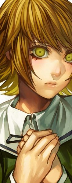 Chihiro Fujisaki -Danganronpa. This is a series of brilliant portraits, congrats to the artist. (I'm not sure if it's official art or fanart - awesome, anyway)