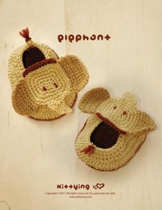 Elephant Baby Booties Häkelanleitung, PDF made by Kittying Crochet Pattern via DaWanda.com