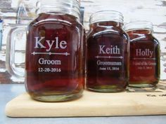 Groomsmen Gift Set, Groomsmen Gift Ideas, Best Groomsmen Gifts Surprise your bridal party with a unique, Personalized Wedding Party Gift - Custom Engraved Wedding Mason Jar These one-of-a-kind Personalized Gift mason jar is a great way to commemorate any special day! This toasting