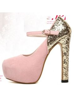 Sequined Patchwork Platform Pink High Heels With Mary Jane Design