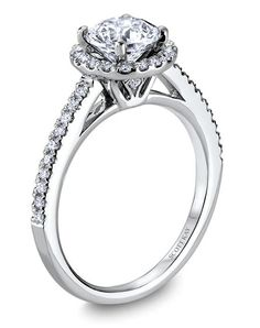 Ladies Platinum Round Halo Mounting with Round Diamonds, 1/3ctw.  Also available in 18K & 14K. Price excludes center stone