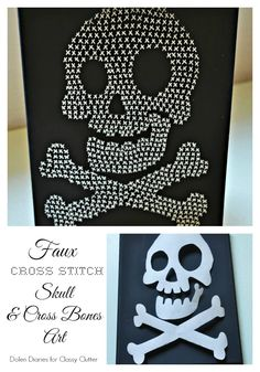 Faux Cross Stitch Skull & Cross Bones Art is a quick and easy Halloween décor project sure to please your little goblins.