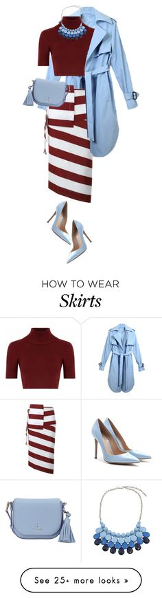 """""""Stripe skirt"""" by sagramora on Polyvore featuring N°21, Glamorous, Chicnova Fashion, Kate Spade and Gianvito Rossi"""