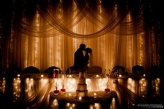 bride and groom at wedding head table