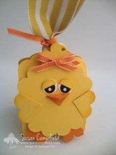 """Adorable Easter Project: Baby Chick with an """"Egg Crate"""" treat holder that holds a Cadbury Creme Egg!  Video tutorial at www.suestampfield.com"""
