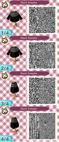 Black Cable Sweater - Animal Crossing New Leaf - QR Code