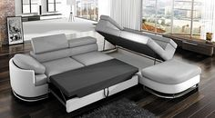 Shop for Strick & Bolton Cutler Grey/ White Sectional Sleeper Sofa. Get free delivery On EVERYTHING* Overstock - Your Online Furniture Shop! White Sectional, Sectional Sleeper Sofa, Furniture Deals, Home Furniture, Outdoor Furniture Sets, Living Room Modern, Living Spaces, Corner Headboard, Deco Baroque