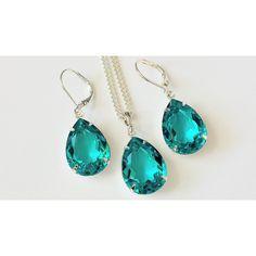 Light Turquoise Jewelry Set Swarovski Blue Zircon Crystal Jewelry... (1 120 UAH) ❤ liked on Polyvore featuring jewelry, green turquoise jewelry, teardrop jewelry, teardrop jewelry set, crystal jewelry sets and crystal jewellery