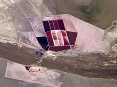 Salt ponds and soda ash industry. Taken from space. Science Photography. Nasa.