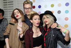 Lily Collins, Derek Hough, Lauren Parsekian and Julianne Hough attend the Samsung Galaxy and Thirty Seconds To Mars celebration of their Love, Lust, Faith and Dreams Tour at Chateau Marmont on October 12, 2013 in Los Angeles, California.