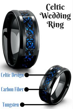 Black celtic wedding band crafted out of tungsten carbide. Inlaid in the center of the ring is a black celtic design resting on top of a blue carbon fiber inlay.