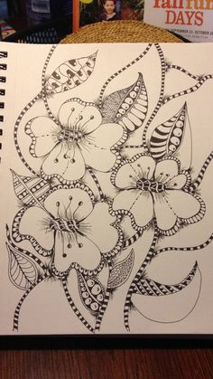 Flowers Drawings : Zentangle End of summer! I love the balance between positive/negative space in Zentangle Drawings, Doodles Zentangles, Doodle Drawings, Doodle Art, Zen Doodle, Doodle Patterns, Zentangle Patterns, Flower Patterns, Flower Doodles