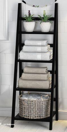 Legend Big DIY Bathroom Storage Ideas # Storage Ideas # bathroom # tool - DIY Home Decor Decor Room, Diy Home Decor, Bedroom Decor, Rental Home Decor, Living Room Decor, Bathroom Towel Storage, Vanity Bathroom, Bathroom Shelves For Towels, Towel Rack Bathroom