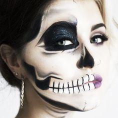 These Half-Skeleton Halloween Makeup Looks Are Completely Mesmerizing via @ByrdieBeauty