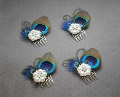 peacock feather hair combs