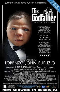 Custom Movie Poster Baby Announcement. The GodFather Movie.